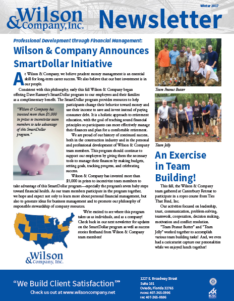 Wilson & Company Winter 2017 newsletter