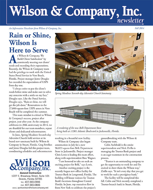 Wilson & Company Fall 2014 newsletter